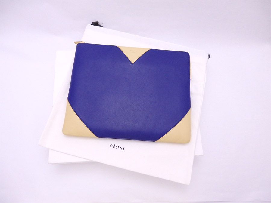 beautiful article  It is Celine  CELINE  clutch bag indigo x beige leather  x gold metal fitting  used  1f89c6972a1c1