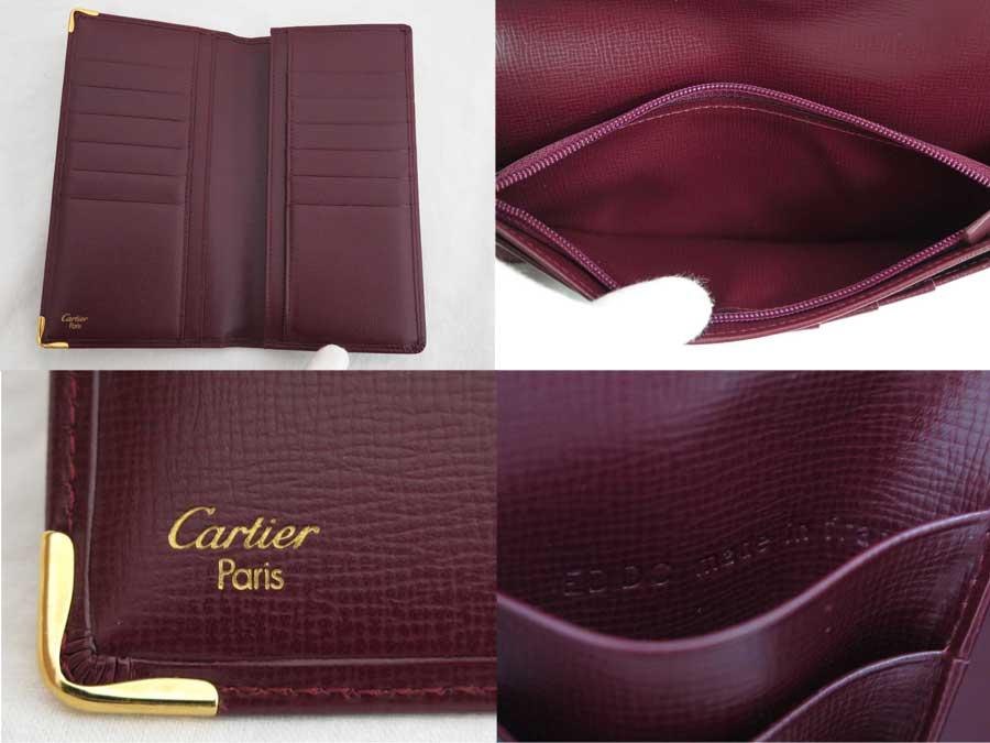 美品 カルティエ Cartier 二つ折り長財布 バーガンディ レザーxゴールド金具 長財布 財布e379119E2WDHIY