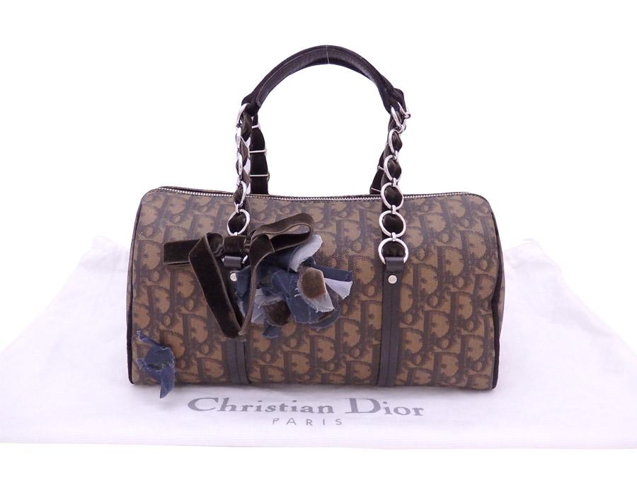 クリスチャンディオール Christian Dior ハンドバッグ トロッター ブラウンxダークブラウン PVCxベロア ボストンバッグ レディース 【中古】【おすすめ】 - e38594