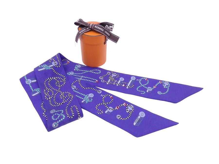 エルメス HERMES スカーフ ツイリー パープルブルーxマルチカラー 100% シルク リボンスカーフ レディース 【中古】【定番人気】 - e38614