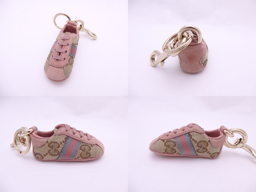 c79da240db3 It is Gucci  Gucci  GG canvas baby Gucci shoes key ring bag charm key ring  Lady s beige x pink canvas x suede x gold metal fitting  soot   used