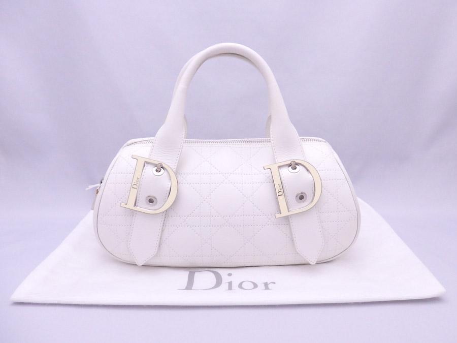 クリスチャンディオール Christian Dior ハンドバッグ カナ―ジュ ホワイト レザーxシルバー金具 【中古】【おすすめ】 - e38495