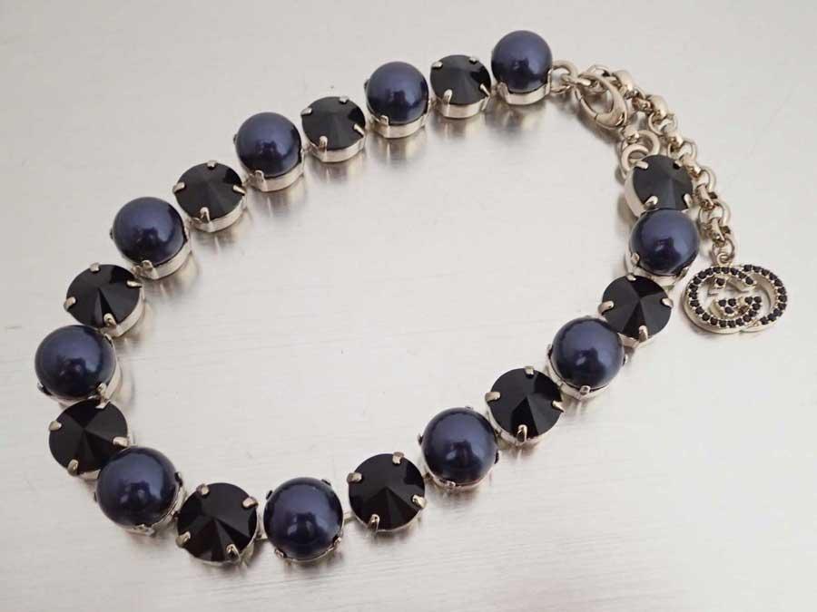 193f41cde BrandValue: Gucci Gucci necklace gold x dark purple metal material x fake  pearl x rhinestone chain necklace gold necklace Lady's - e40532 | Rakuten  Global ...