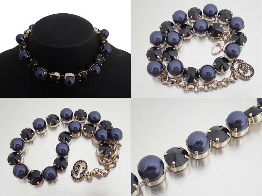 8682beee8 It is Gucci [Gucci] necklace chain necklace gold necklace Lady's gold x  dark purple metal material x fake pearl x rhinestone [soot] [used]