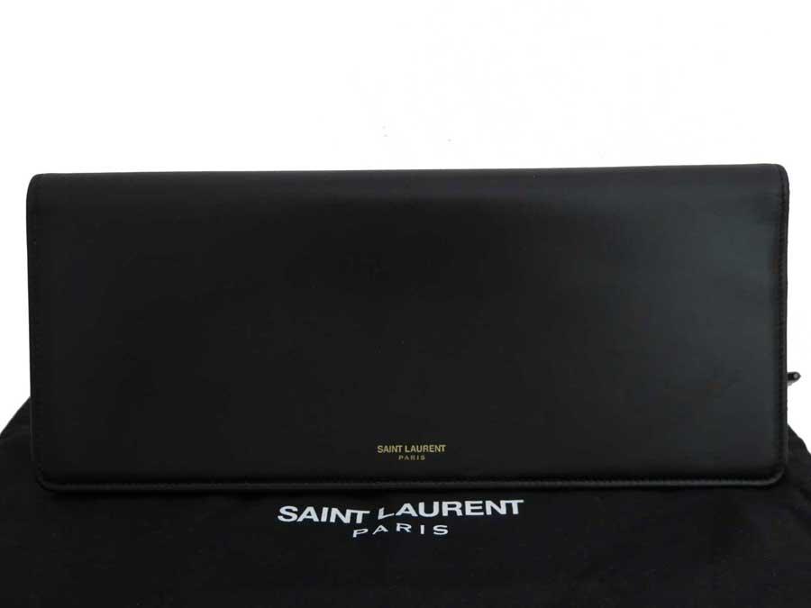 サンローラン SAINT LAURENT バッグ ロゴ ブラック レザー クラッチバッグ セカンドバッグ レディース メンズ 326597 【中古】【おすすめ】 - e40892
