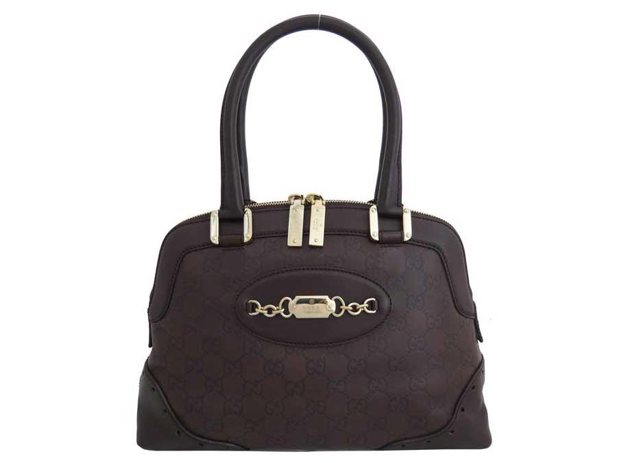 Gucci Bag Gg Dark Brown X Gold Metal Ings Leather Handbag Lady S 145785 E40992