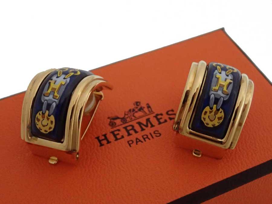 エルメス HERMES イヤリング 七宝焼き ゴールドxネイビー 金属素材xエナメル ゴールドイヤリング クリップイヤリング レディース 【中古】【おすすめ】 - e41002