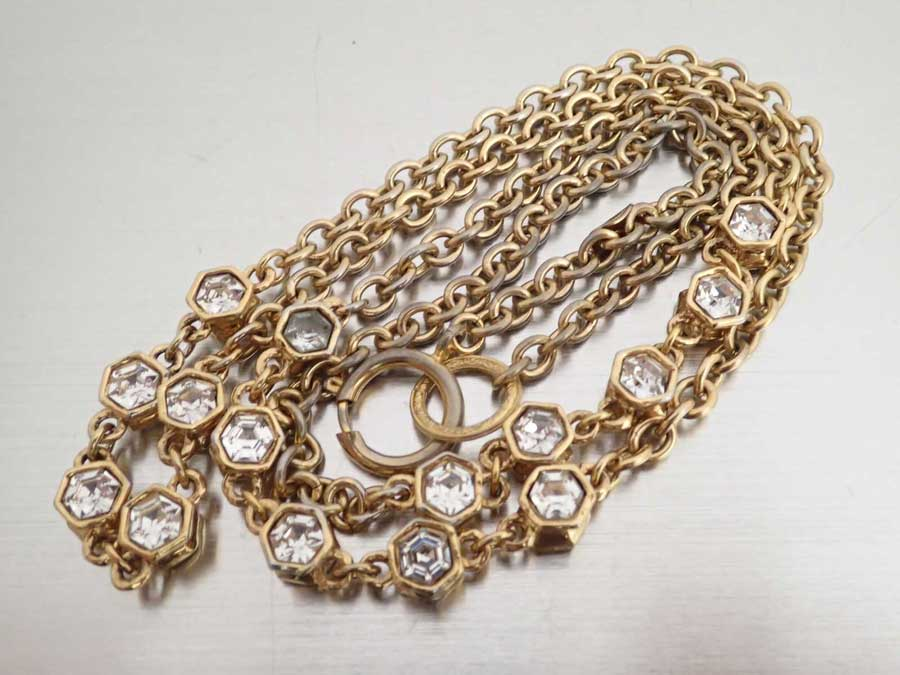 66476a45c BrandValue: Chanel CHANEL necklace gold x silver metal material x rhinestone  long necklace chain necklace Lady's - e41033 | Rakuten Global Market
