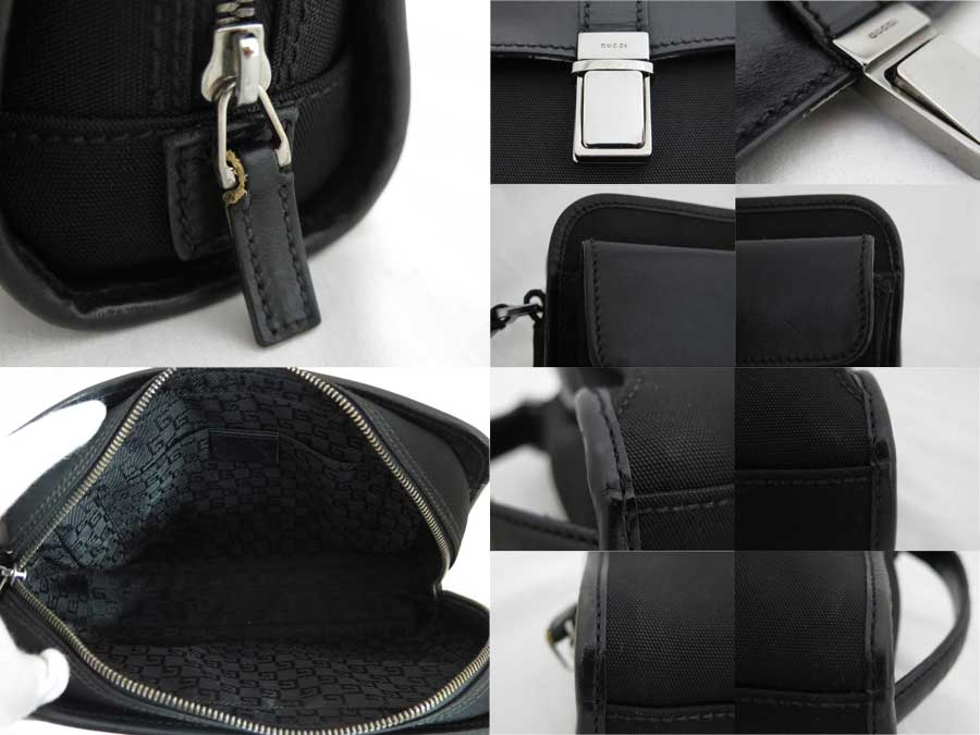 グッチ Gucci バッグ ロゴ ブラックxシルバー金具 ナイロンxレザー クラッチバッグ セカンドバッグ メンズ 108844おすすめe41096MVLUpSqzG