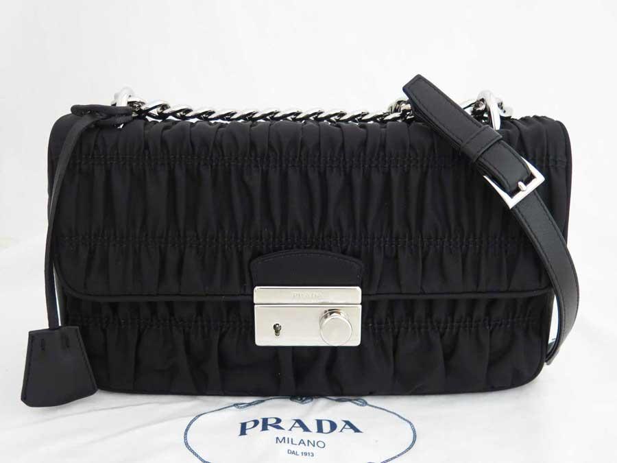 【美品】プラダ PRADA バッグ ブラックxシルバー金具 ナイロン ショルダーバッグ チェーンショルダー レディース 1BN026 【中古】 - e41294