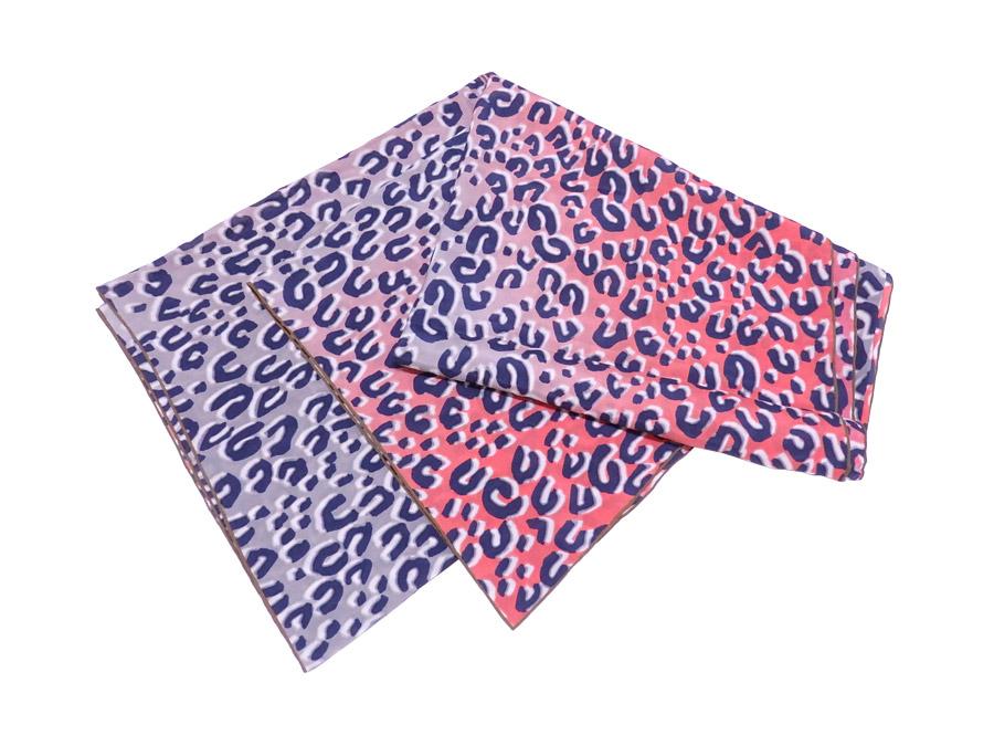ルイヴィトン Louis Vuitton スカーフ レオパード ブルーxピンク 100% シルク ショール 【中古】【定番人気】 - e39854