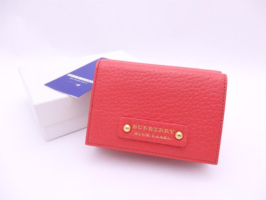 バーバリー BURBERRY 三つ折り財布 ブルーレーベル ピンクオレンジ レザー コンパクトウォレット レディース 【中古】【おすすめ】 - e39963