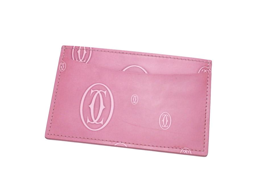カルティエ Cartier カードケース ハッピーバースデイ ピンク パテントレザー パスケース 【中古】【おすすめ】 - e39969