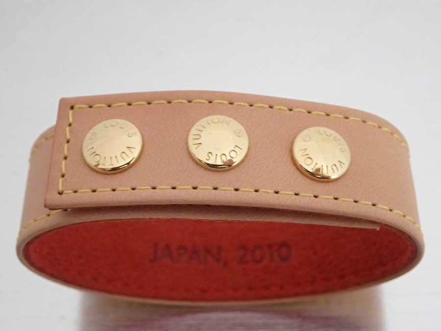 ルイヴィトン Louis Vuitton ブレスレット JAPAN 2010 ノベルティ ベージュxゴールド金具 レザー バングル レザーブレス レディース メンズ 【中古】【おすすめ】 - e41539