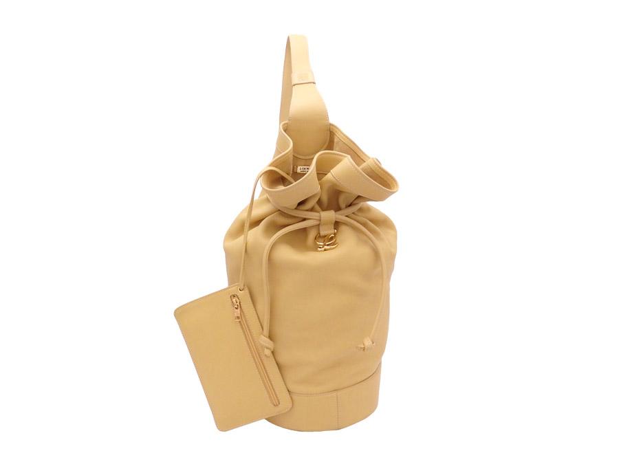 ロエベ LOEWE ショルダーバッグ イエロー レザーxゴールド金具 巾着バッグ レディース 【中古】【おすすめ】 - e40241