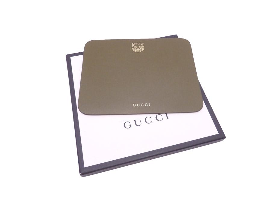 【美品】グッチ Gucci マウスパッド カーキxゴールド レザー 【中古】 - e40256