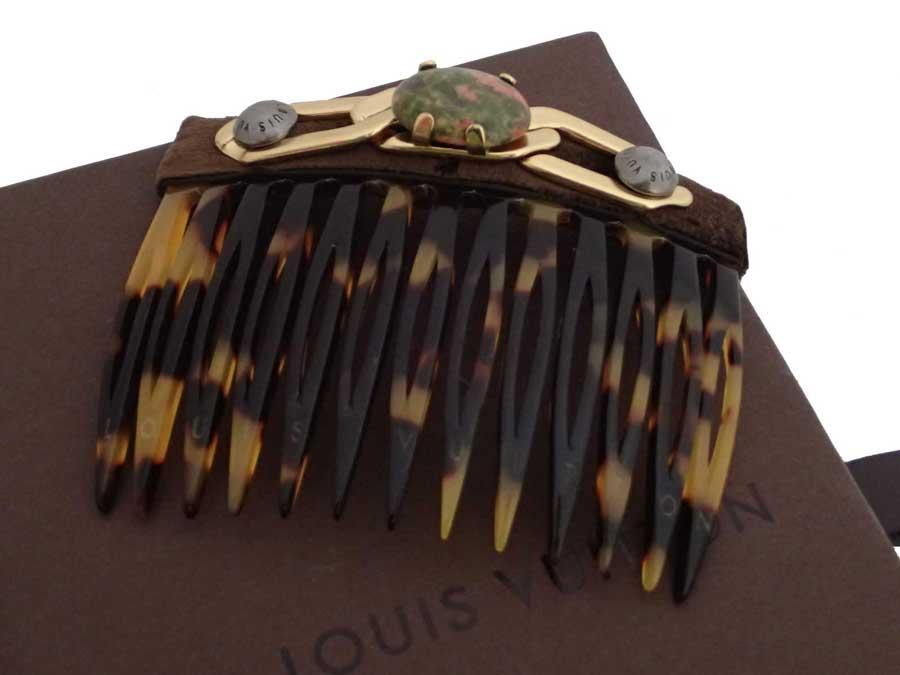 ルイヴィトン Louis Vuitton ヘアアクセサリー ブラウンxゴールド プラスチックx金属素材xストーン ヘアピン 髪留め レディース 【中古】【おすすめ】 - e42109