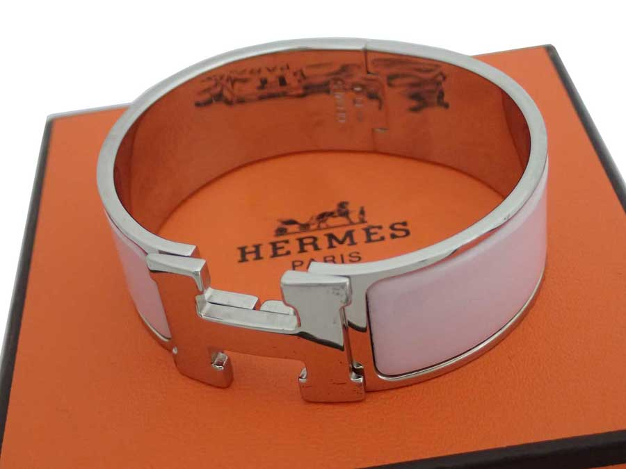 エルメス HERMES バングル クリッククラックH シルバーxライトピンク 金属素材xエナメル ブレスレット 送料無料 【中古】【おすすめ】 - e40423