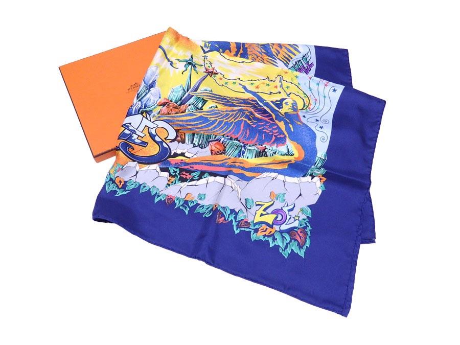 【美品】エルメス HERMES スカーフ カレ 90 The Alfee Aube 25 ブルーxマルチカラー 100% シルク 【中古】 - e40554