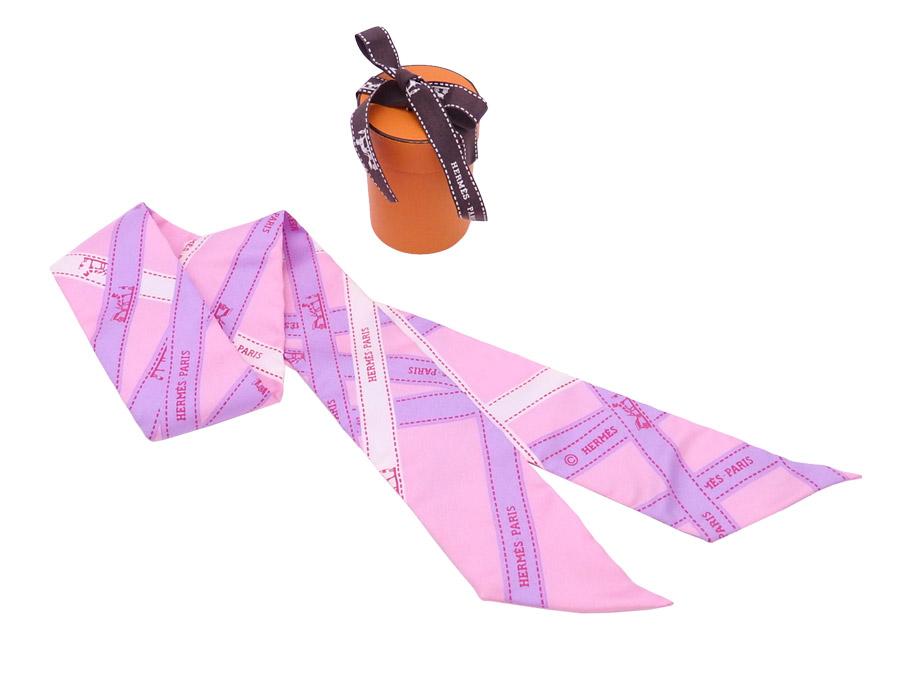 エルメス HERMES スカーフ ツイリー ピンクxパープル 100% シルク シルクスカーフ リボンスカーフ レディース メンズ 【中古】【おすすめ】 - e41057