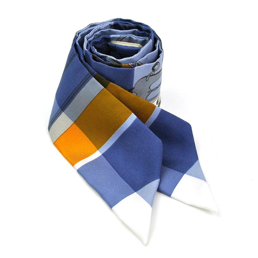 【美品】エルメス ツイリー スカーフ ツイリー ブルー系 シルク100% HERMES レディース 【中古】 - y13803