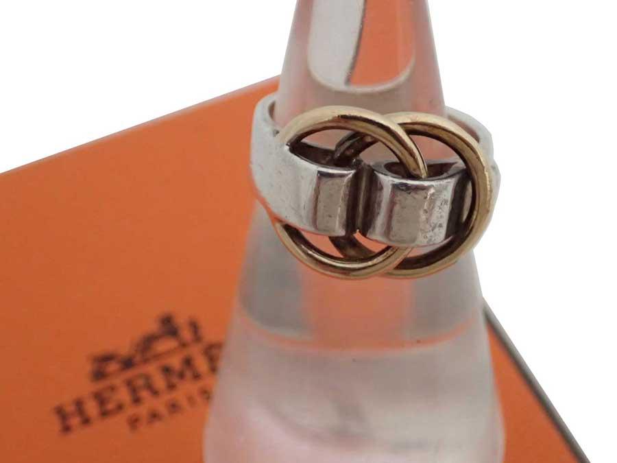 シルバーリング 指輪 シルバー925 リング メンズ e46010e レディース HERMES - エルメス ドゥザノー 【中古】【おすすめ】 シルバーxゴールド