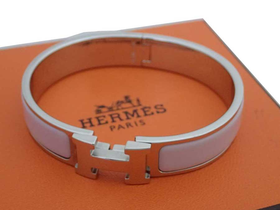 エルメス クリッククラック H バングル ブレスレット シルバーブレス 評判 金属素材xエナメル - 5%OFF おすすめ 中古 レディース HERMES e47207f シルバーxライトピンク