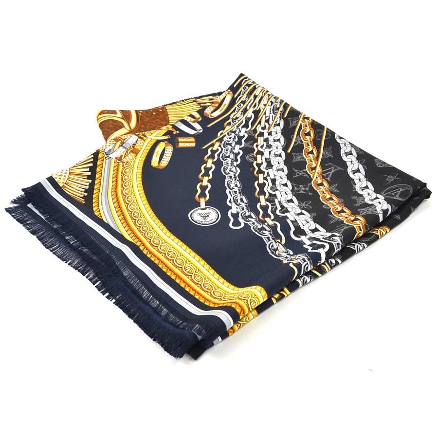 【美品】ルイヴィトン スカーフ カレ ジェアン・ヴァンドーム ブラックxマルチカラー シルク 100% Louis Vuitton レディース M71514 送料無料【中古】 - i0359