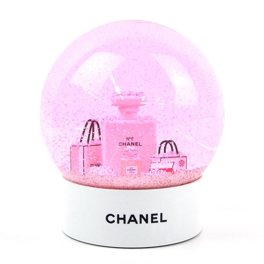 シャネル スノードーム ホワイトxピンク ガラスxプラスチック CHANEL 送料無料【中古】【ノベルティ】 - y14185c