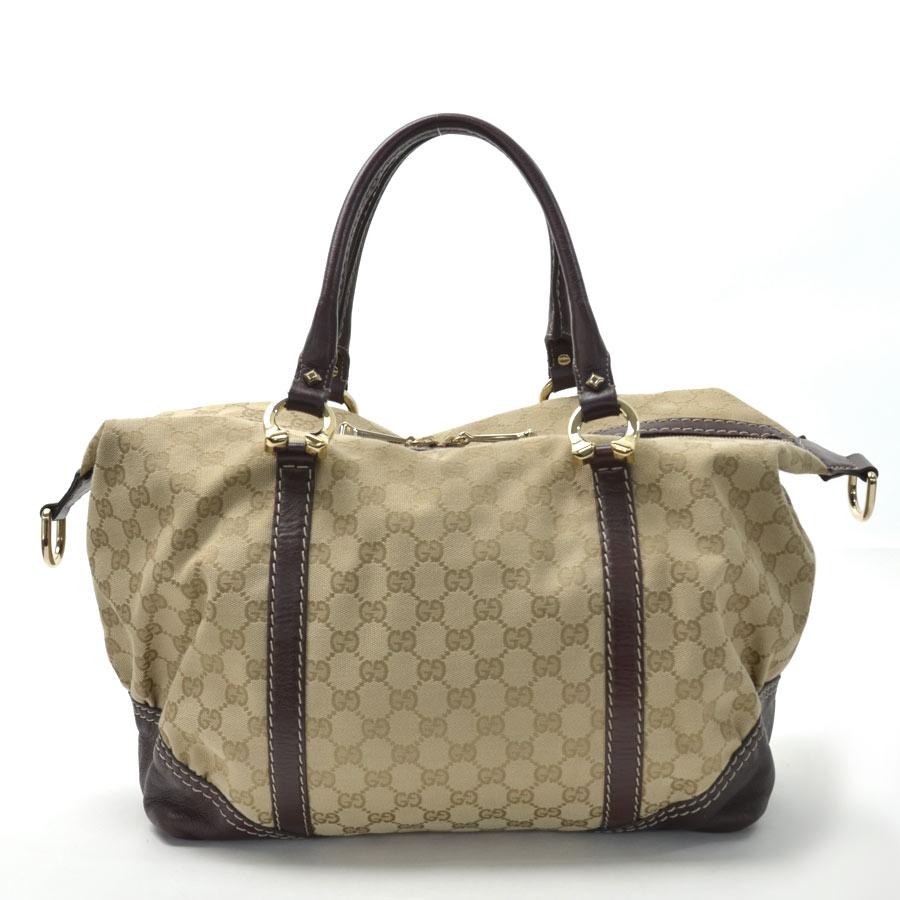 Gucci Bag Gg Pattern Beige X Dark Brown Canvas Leather Handbag Lady S 189892 V26153