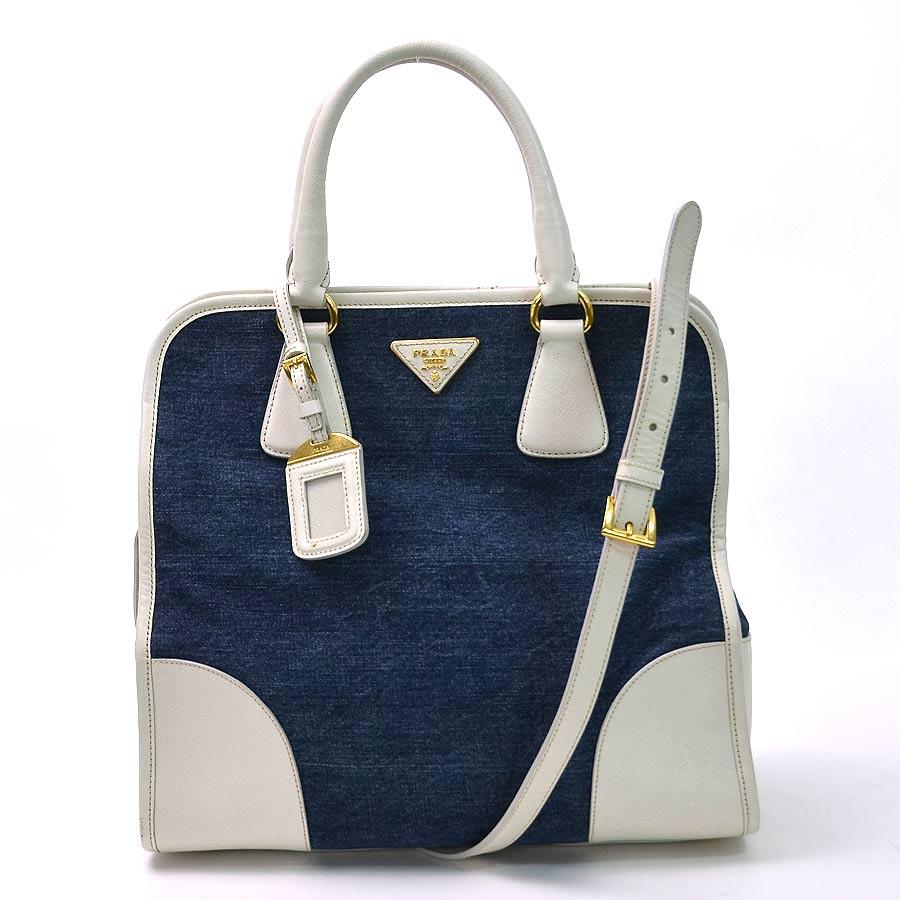 81ba2202c8b9 ... sale brandvalue prada prada bag triangle logo plate denim blue x white  denim canvas x leather