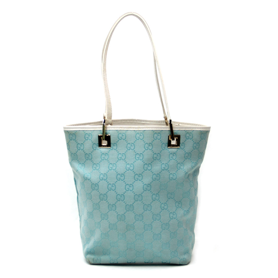 d3b60d5e7e59 Gucci [GUCCI] GG pattern bag tote bag Lady's light blue X white GG canvas X  leather [used] constant seller popularity