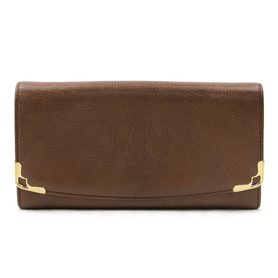 カルティエ Cartier 財布 マルチェロ TABACCO(ブラウン) レザー 二つ折り財布 長財布 レディース メンズ L3000815 【中古】【定番人気】 - v36475