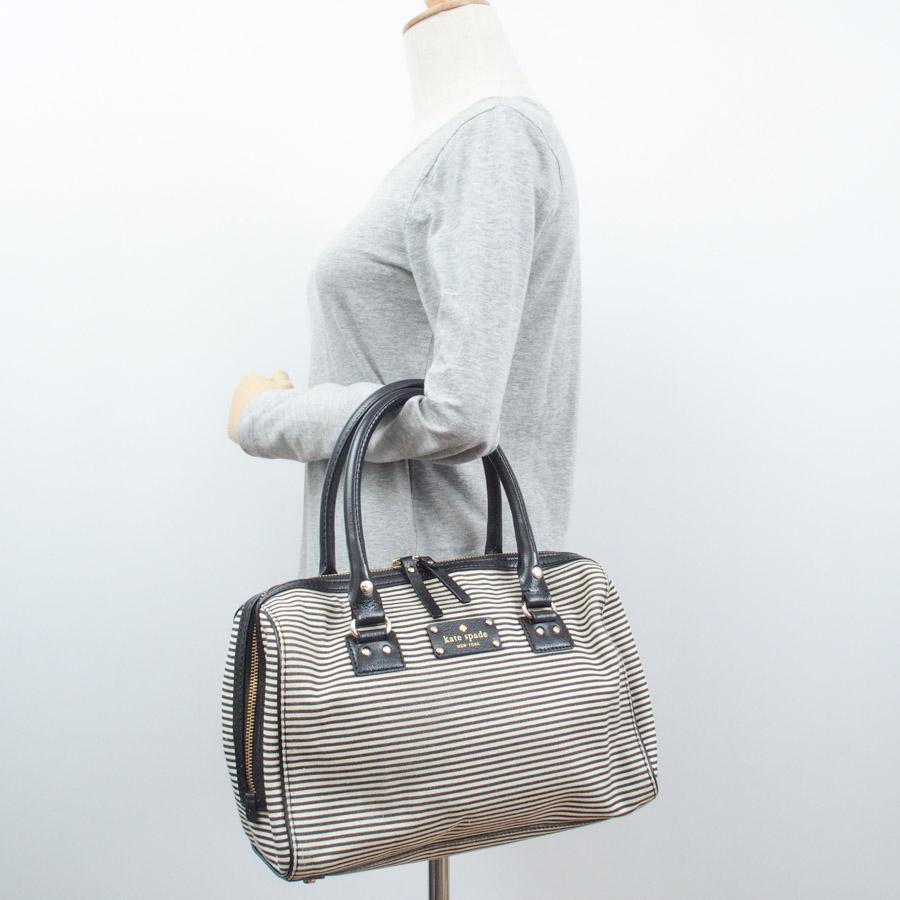 Kate Spade Bag Horizontal Stripes White X Black Canvas Leather Handbag Lady S Wkru1542 V37359