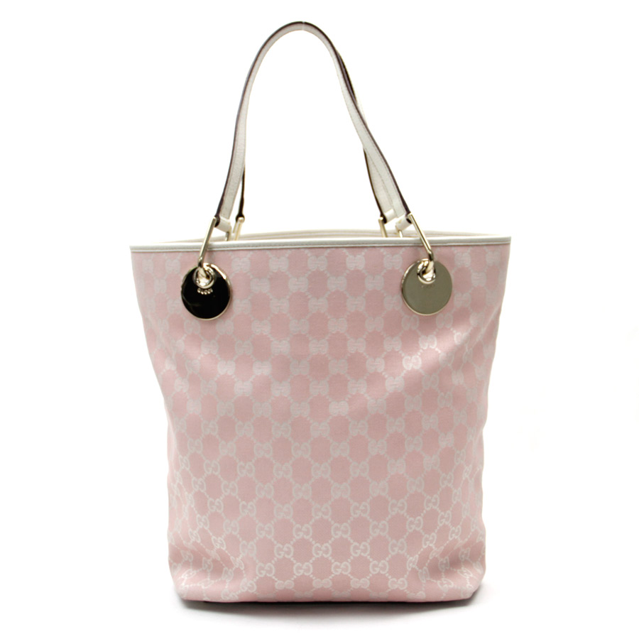 Gucci Bag Gg Pattern Pink X White Canvas Leather Tote Lady S 120836 V38066