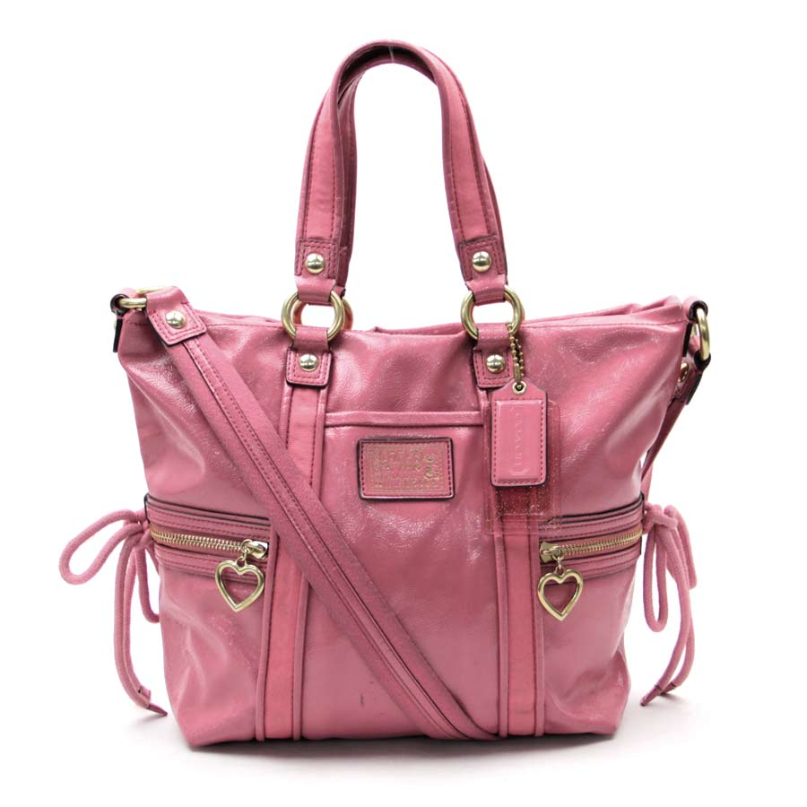 Coach Poppy Bag Handbag 2way Lady Pink Patent Leather Used Constant Er Pority