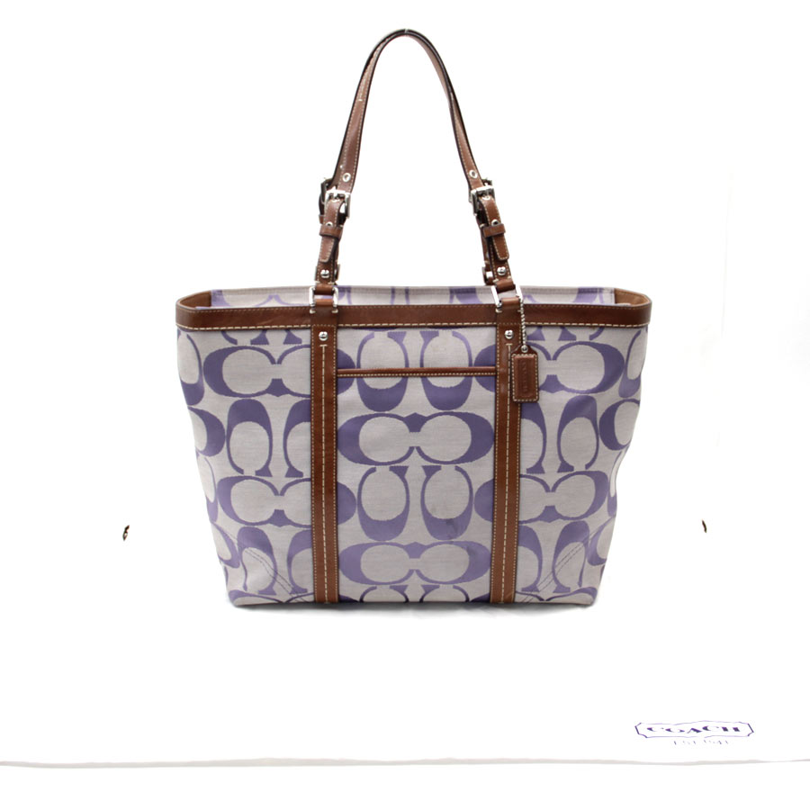 3e77609a41ebf Coach  COACH  signature bag shoulder bag Lady s purple X brown canvas X  leather  used  constant seller popularity