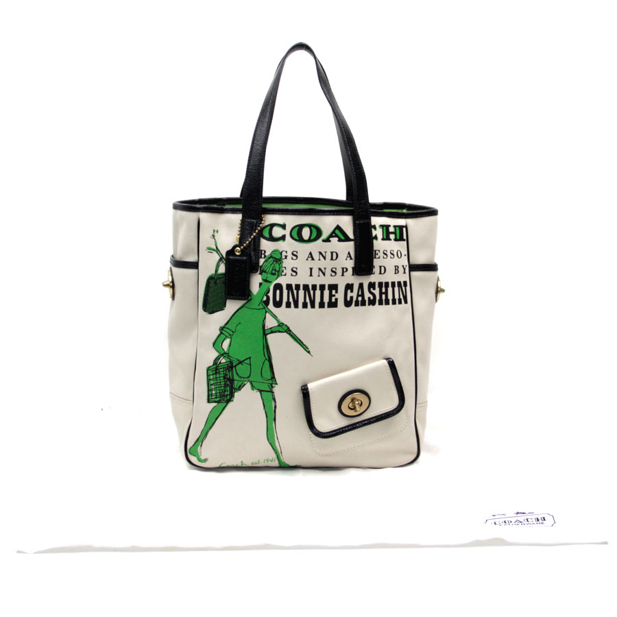 1b901a417f2d Coach [COACH] Bonney canvas tote bag tote bag Lady's ivory X green X black canvas  X patent leather [used] constant seller popularity
