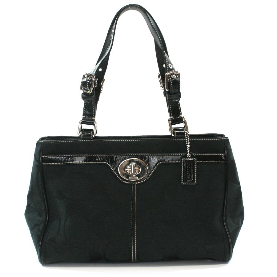 Brandvalue Rakuten Global Market Coach Bag Signature Hamptons Black Canvas X Patent Leather Handbag Lady S F14415 V39357