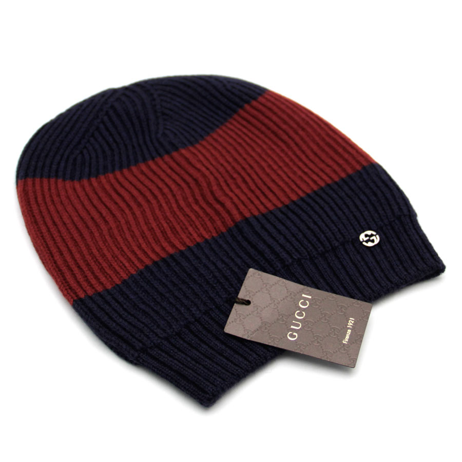 cccf68ae3da Gucci  GUCCI  ウェビングラインダブル G logo accessory (apparel system) hat knit hat  Lady s men navy X red wool 100%  new article  sale