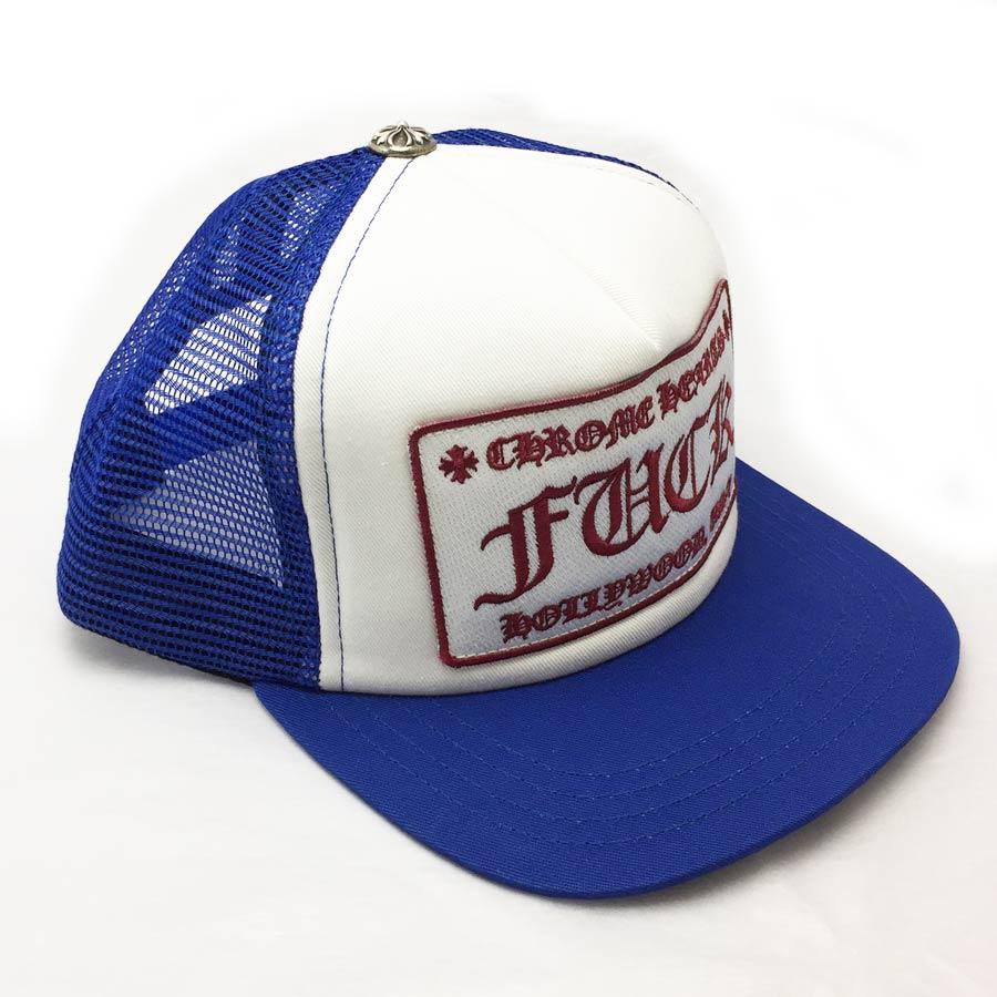 【新品】クロムハーツ Chrome Hearts 小物(アパレル系) トラッカーキャップ FUCK ブルーxホワイト コットンxポリエステルxシルバー925 帽子 メンズ 【セール】 - v41220