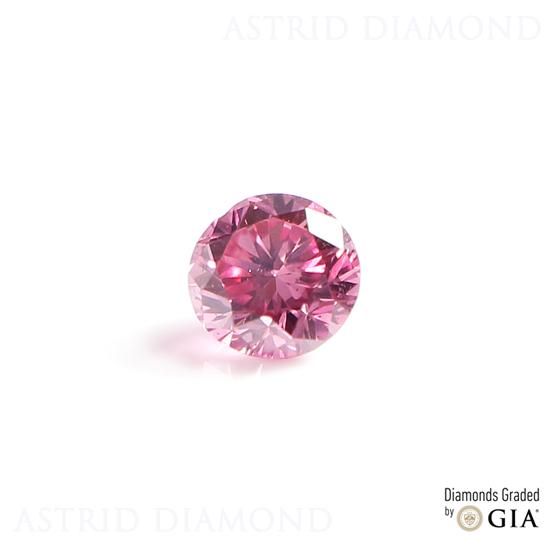 天然カラーダイヤモンド ファンシービビッドパープリッシュピンク ROUND 0.031ct Fancy Vivid Purplish Pink SI1(CGL) GIA鑑定書付き ※現在アストリッドダイヤモンドは、及びYahooのみに出店致しております。URLがrakutenまたはyahooかどうかご確認下さい。