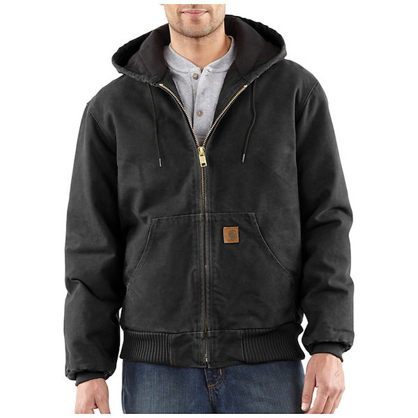 カーハート メンズ ジャケット&ブルゾン アウター Carhartt Men's Quilted Flannel Lined Sandstone Active Jacket Black