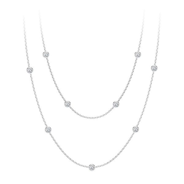 フジオカシ フォーエバーマーク レディース ネックレス・チョーカー アクセサリー・ペンダントトップ アクセサリー 18k and Tribute Collection Diamond (7/8 ct. t.w.) Round Double Necklace in 18k Yellow, White and Rose Gold White Gold, TUXEDO STATION:3dcdc07d --- ltcpackage.online