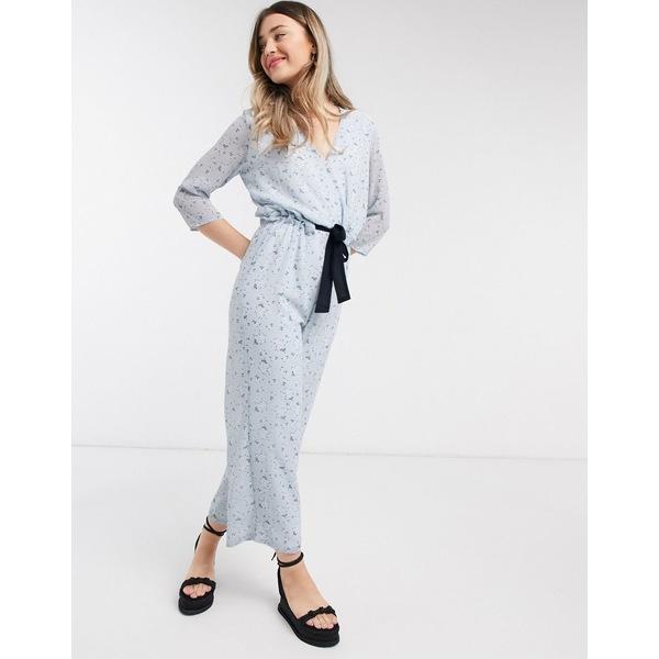 ヴィラ レディース ワンピース トップス Vila wrap jumpsuit with tie waist in blue floral Multi