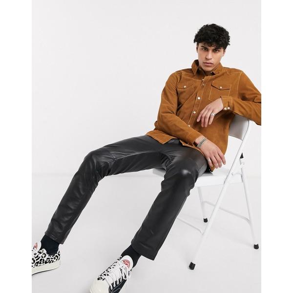 エイソス メンズ シャツ トップス ASOS DESIGN leather western overshirt in tan with contrast stitch Tan