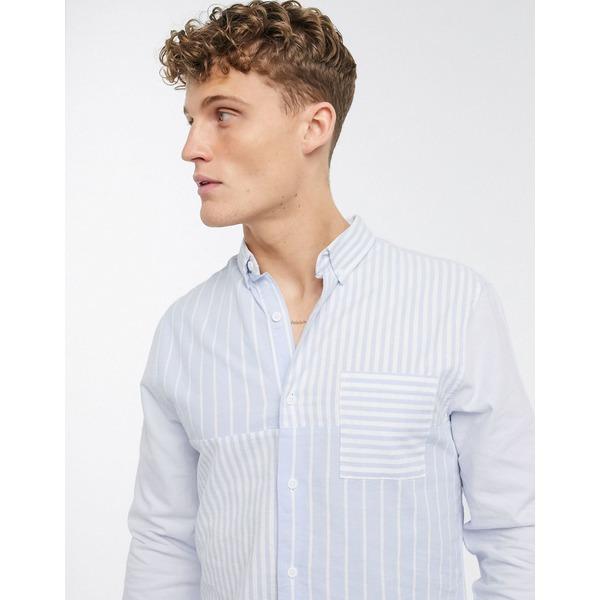 リバーアイランド メンズ シャツ トップス River Island striped shirt in light blue Light blue