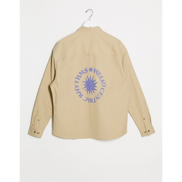 エイソス メンズ シャツ トップス ASOS DESIGN 90s oversized shirt in canvas fabric with sunrise back print Beige