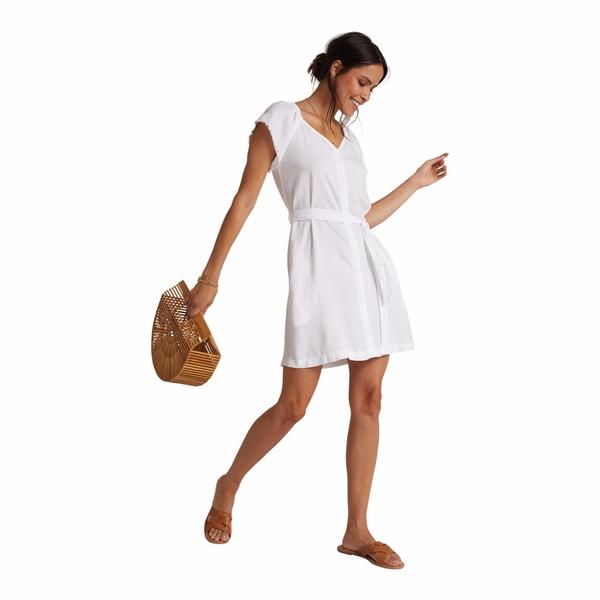 ベラダール レディース ワンピース トップス Elastic Neck Raglan Dress White