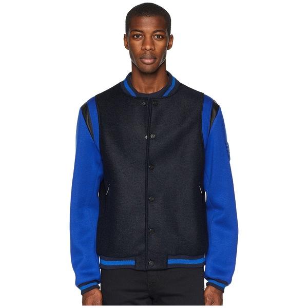ベルサーチ メンズ コート アウター Varsity Jacket Black/Blue